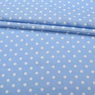 Лен с хлопком голубой в белый горох, ш.155 оптом