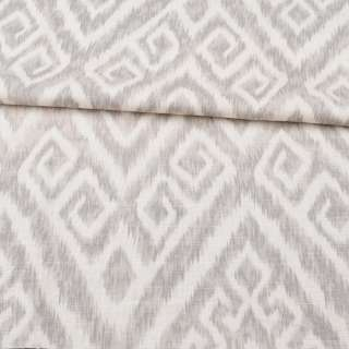 Лен с хлопком стрейч молочный в серый орнамент, ш.148 оптом