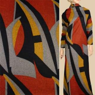 Лоден сірий в синьо-жовто помаранчевий геометричний малюнок, ш.155 оптом