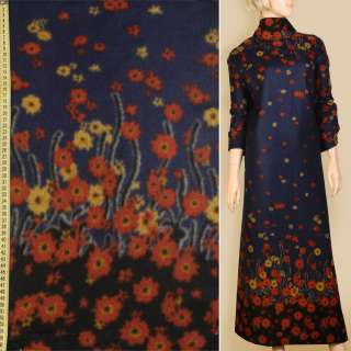 Лоден синій темний, 2-сторонній купон в червоно-жовті квіти, ш.157 оптом