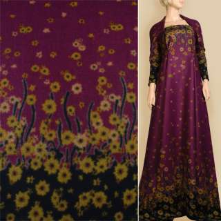 Лоден фіолетовий, 2-ст. купон в горчічно- коричневі квіти, ш.155 оптом