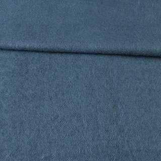 Лоден мохеровый пальтовый сине-серый, ш.155 оптом