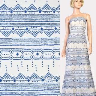 Марлевка біла в синій орнамент, ш.142 оптом