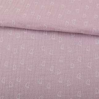 Муслин (марлевка жатая двойная) розово-серый, белые лапки, ш.140 оптом