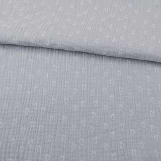 Муслин (марлевка жатая двойная) серый светлый, белые лапки, ш.140 оптом