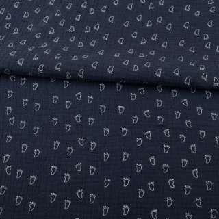 Муслин (марлевка жатая двойная) синий темный, белые лапки, ш.140 оптом