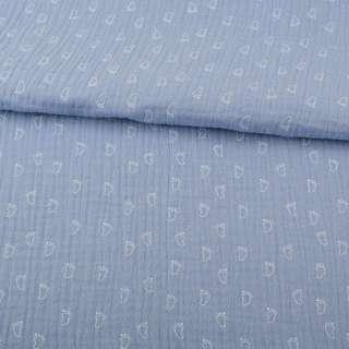 Муслин (марлевка жатая двойная) серо-голубой, белые лапки, ш.138 оптом
