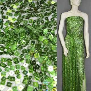 Сетка зеленая с квадратными переливающимися пайетками, ш.150 оптом
