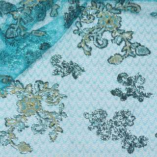 Паутинка голубая с бежево-голубыми цветами из пайеток ш.130 оптом