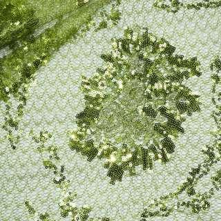Паутинка зеленая с пайетками и букетом бежевых цветов ш.130 оптом