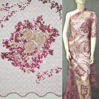 Паутинка грязно-розовая с пайетками и букетом бежевых цветов ш.130 оптом