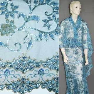 сетка голубая с 2-х ст. куп. с вышит. беж. цветами и лист. из пайет. ш.120 оптом