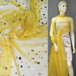 Сетка желтая с серебристыми пайетками ш.140 оптом
