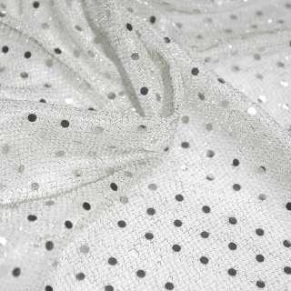 луска біла з дрібними круглими серебр.пайеткамі ш.100 оптом