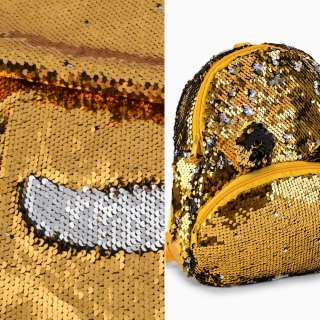 Пайетка двухсторонняя на атласе золото/серебро, ш.130 оптом