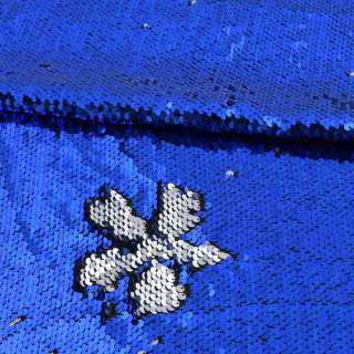 Пайетка двухсторонняя на атласе серебро/синяя ультра, ш.130 оптом