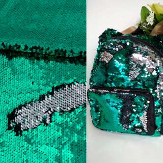 Пайетка двухсторонняя на атласе серебро/зеленая, ш.130 оптом
