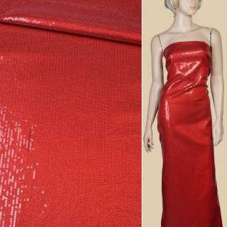 Пайетки* красные блестящие, настроченные полосами на мягком атласе, ш.125 оптом