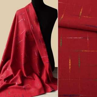 Тканина пальтова червона з кольоровими нитками ш.150 оптом