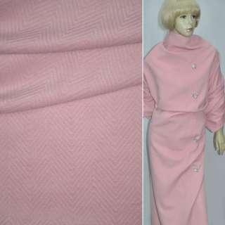 "Ткань пальтовая розовая ""ёлочка"" диагональ ш.150 оптом"