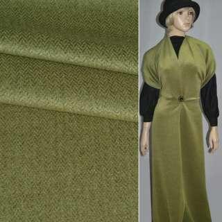 Ткань пальтовая в елочку зеленая оптом