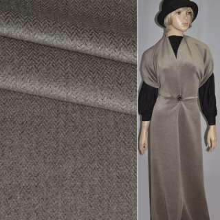 Ткань пальтовая в елочку темно-коричневая оптом