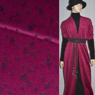 Ткань пальтовая малиновая с черным жаккардовым рисунком, ш.150 оптом