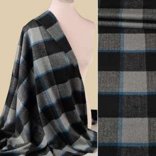 Пальтова тканина в клітинку з ялинкою чорно-синя на сірому тлі, ш.145 оптом