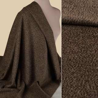 Пальтова тканина з ворсом меланж коричнева,  ш.152 оптом
