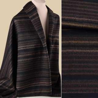 Напіввовна пальтова з ворсом смуги бежеві, коричневі на чорному тлі, ш.150 оптом