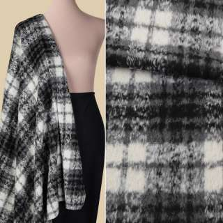 Пальтова тканина з ворсом в клітинку сіро-молочна, ш.150 оптом