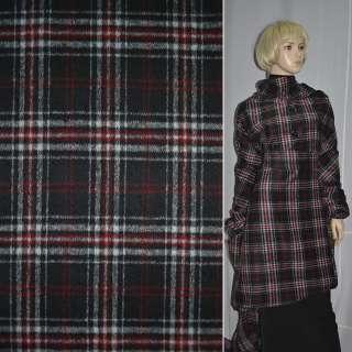 Ткань пальтовая черная в красно-белую клетку ш.150 оптом