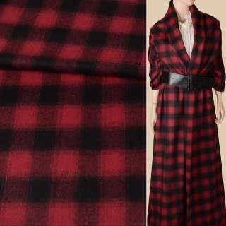 Напіввовна пальтова в клітинку червоно-чорна, ш.155 оптом