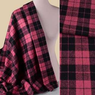 Напіввовна пальтова в клітинку чорну рожева, ш.155 оптом