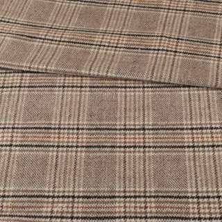 Пальтова тканина в клітинку коричневу, бежева, ш.155 оптом