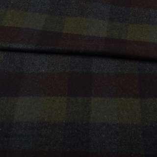 Шотландка пальтовая оливковая в коричнево-синюю клетку ш.150 оптом