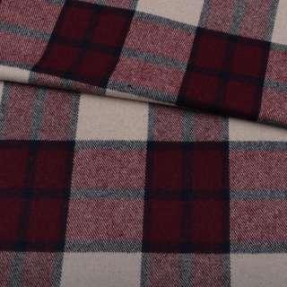 Шотландка пальтова бежева в велику бордово-сіру клітку ш.150 оптом