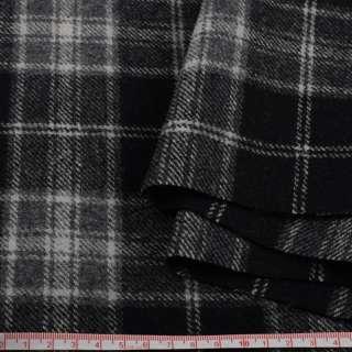 Шотландка пальтовая черная в серую клетку ш.150 оптом