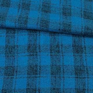Букле пальтове з вовною двошарове в клітку чорну, метанитка срібляста, блакитне, ш.155 оптом