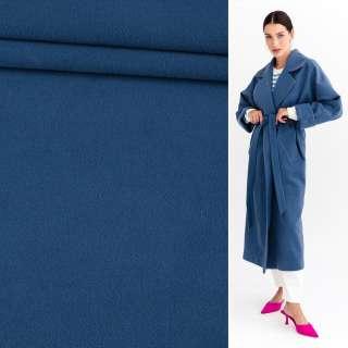 Ткань пальтовая 2-ст. синяя светлая ш.150 оптом