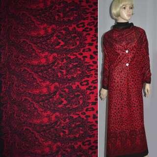 пальтовка красная с черн. 2х ст. куп. (леопард) ш.150 оптом