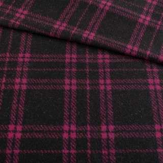 Кашемір пальтовий чорний в фіолетову клітку, ш.150 оптом