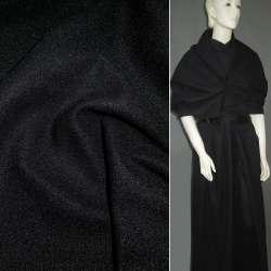 Ткань пальтовая черная на трикотажной основе ш.160