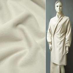 Ткань пальтовая молочная на трикотажной основе ш.154 оптом