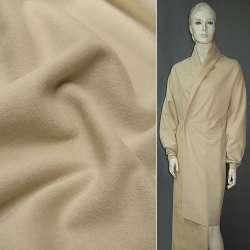Ткань пальтовая бежевая светлая на трикотажной основе ш.160 оптом