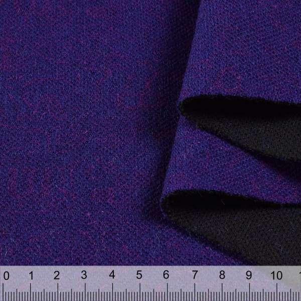 Пальтовый трикотаж двухслойный ультрамарин темный в розовый узор ш.155 оптом