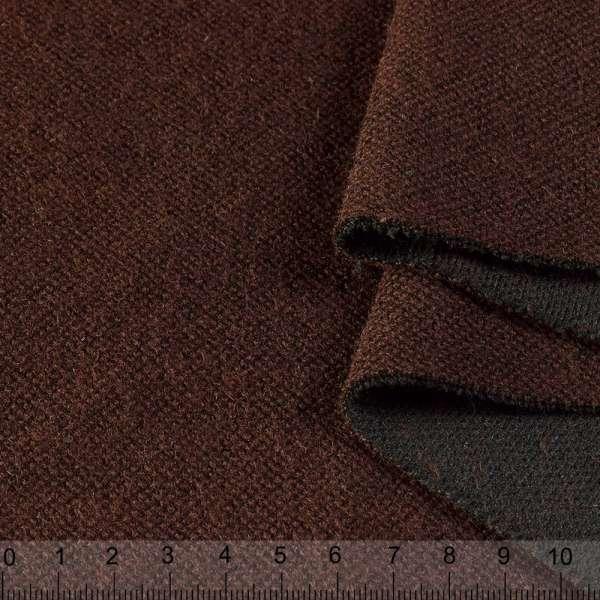 Пальтовый трикотаж двухслойный коричневый темный ш.150 оптом