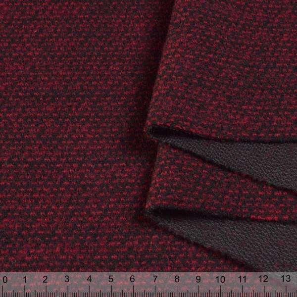 Пальтовый трикотаж двухслойный бордово-черная вязка ш.145 оптом