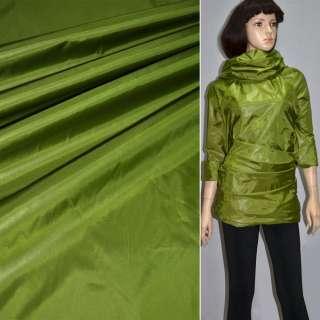 Ткань плащевая блестящая зеленая ш.150 оптом