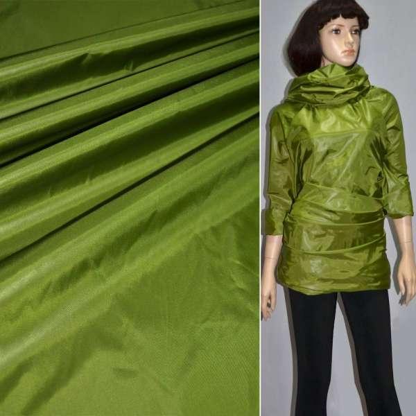 Ткань плащевая блестящ. зеленая ш.150 оптом